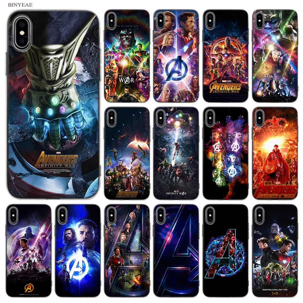 BINYEAE Avengers III 3 Infinity War Soft Styles Design TPU Silicone Case Cover Coque Capa Fundas Shell for Apple iPhone X 10 Ten