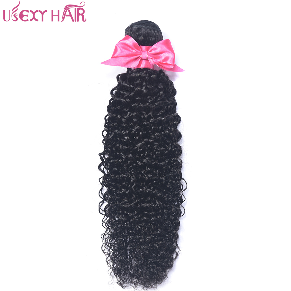 USEXY HAIR 1 Bundle Indian Curly Hair 100% Human Hair Weave Bundles 8-28 inch Remy Hair Weaving Natural Color No Tangle