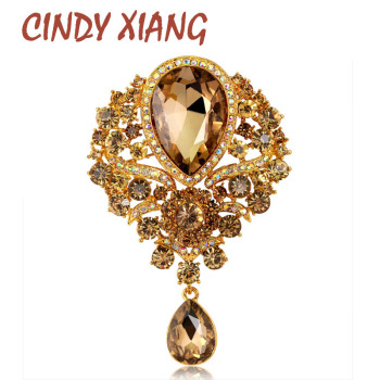 CINDY XIANG Large Crystal Water-drop Brooches for Women Vintage Fashion Pendant Style Elegant Wedding Pins Party Jewelry Brooch