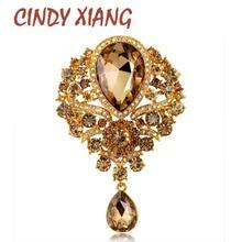 Broches grandes de cristal CINDY XIANG con forma de gota de agua para mujer, broches Vintage de moda elegantes para boda, broches de joyería para fiestas