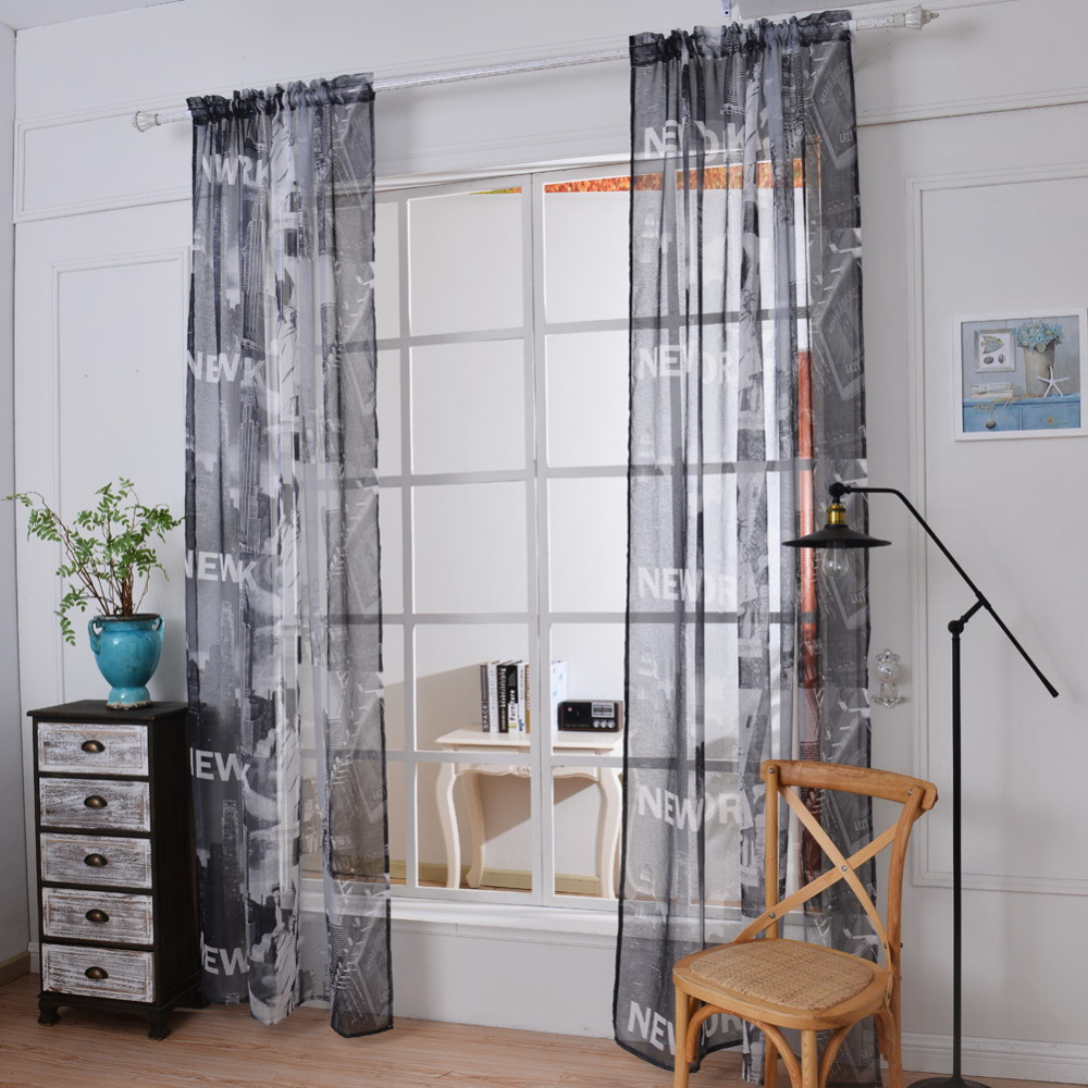 1Pcs New Classic Printing Tulle Voile Door Window Curtains Drape Sheer Scarf Valance Screening For Living Room
