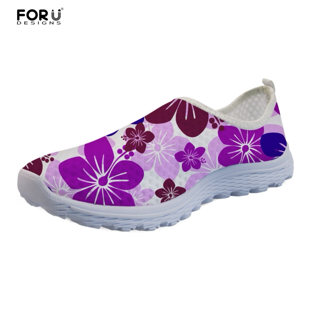 FORUDESIGNS Flower Printing Fashion Flats Women Shoes Floral Style Casual Womens Sneakers Mesh Super Light Ladies Loafers Woman
