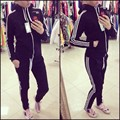 Das Mulheres da primavera Outono Moda Sportswear fatos de Treino Ternos Esportivos de Lazer Mulher Hoodies e Moletons Casacos + Calças 2 pcs