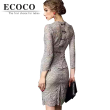 Sexy Club Elegant Sheath Solid 3/4 Sleeve Back Bow Hollow Out Knee-length Regular Natural Summer Lace Dress Red Grey Black D216