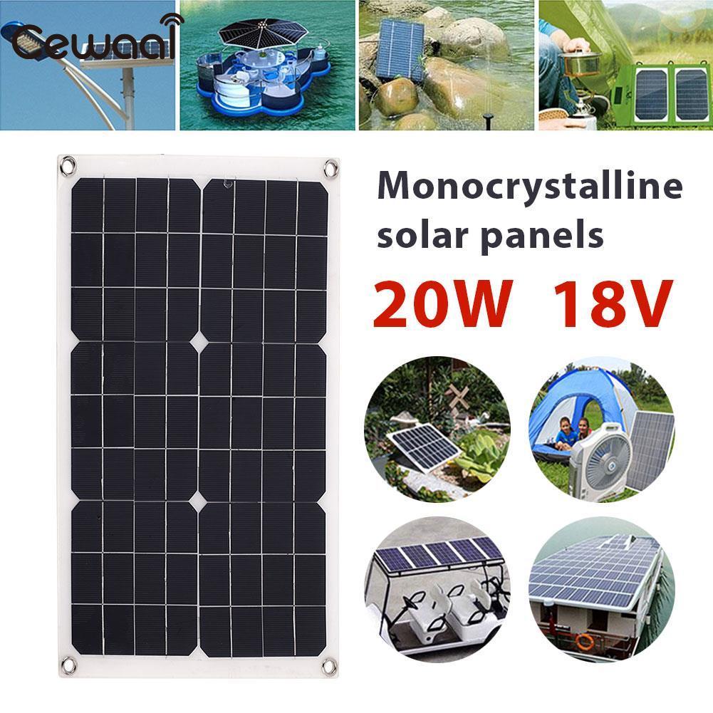 Outdoor Pannello Solare 20 W 18 V Alimentazione Di Emergenza Ricarica Solare Portatile Solare Generatore USB + Porta DC Auto batteria Chargiing