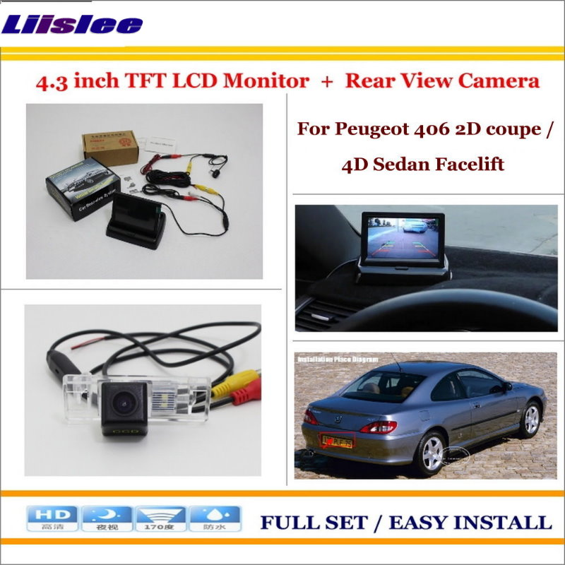 Liislee For Peugeot 406 2D coupe / 4D Sedan Facelift Car Rearview Camera + 4.3 LCD Monitor = 2 in 1 Parking Assistance System