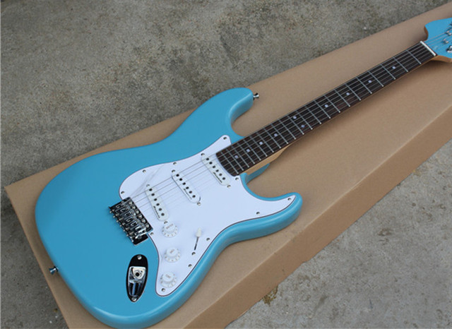 US $106 0 |Factory custom Best Price electric guitar with reverse  headstock,SSS pickups,white pickguard,chrome hardware,can be customized-in  Guitar