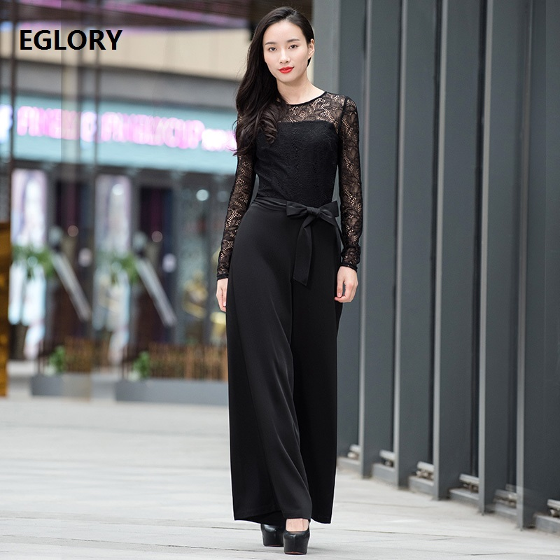 New Plus Size Womens Clothing Jumpsuit 2018 Ladies Hollow Out Lace Crochet Patchwork Straight Wide Leg Long Pants Rompers XXXL