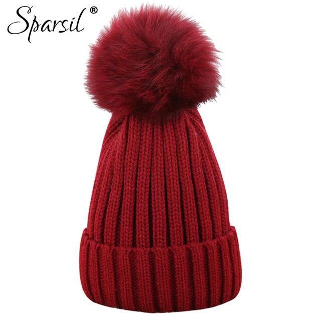 39609320050 Sparsil Women Winter Raccoon Fur Ball Hat Femal Autumn Skullies Beanies  Knitted Cap Pompom Decoration Casual