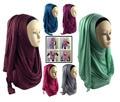 Verdadeiro Brilho Instantâneo Deslizamento Hijab 2016 Mulheres Jersey Maxi Superdimensionada Lenço No Pescoço Lenços de Viscose Muçulmano Xales Islâmicos Frete Grátis