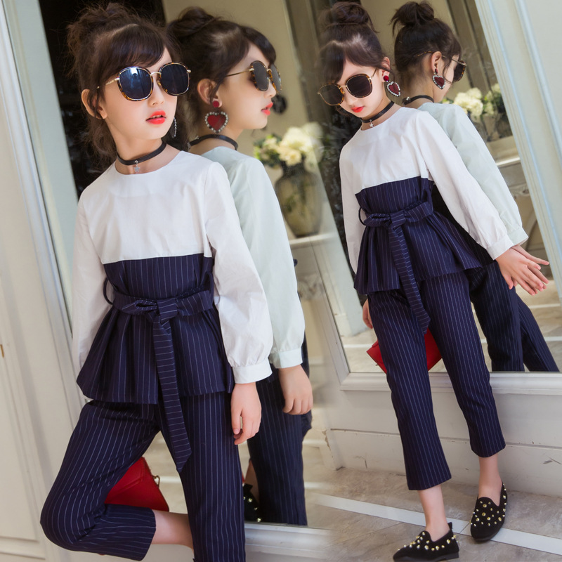 Children Clothing Sets Girls Clothes Sets 2017 Autumn Girls Clothing 2PCS Long Sleeve T Shirt +Striped Pencil Pants Outfits 0 girls tracksuit long sleeve autumn clothes set striped hood shirt
