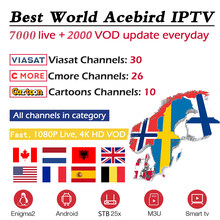 Acebird IPTV Subscription For UK Holland Albania Sweden French Spain Croatia USA Canada XXX Support Smart TV Box M3u Enigma2 Mag(China)