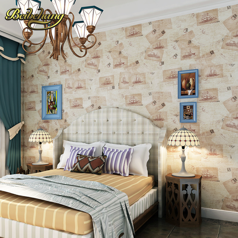 beibehang wall paper. Pune classic Mediterranean-style Non-woven wallpaper bedroom living room backdrop poster sailboat