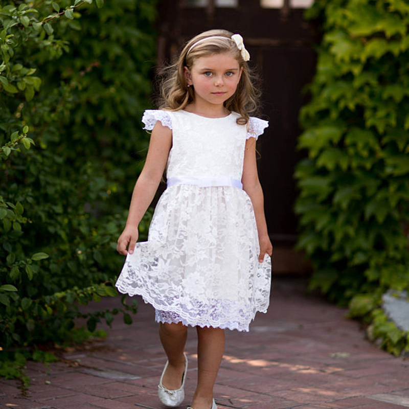все цены на Lace Flower Girls Dresses For Wedding Gowns White Girl Birthday Party Dress Ivory Mother Daughter Dresses A-Line Communion Dress онлайн