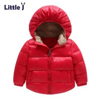 Little J Solid Kids Boys Girls Hooded Coat Baby Children Windbreaker Jacket Outwear Winter Casual Warm