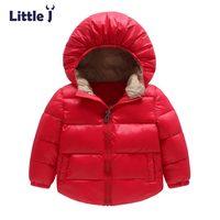 Little J Solid Kids Boys Girls Hooded Coat Baby Children Windbreaker Jacket Outwear Winter Casual Warm