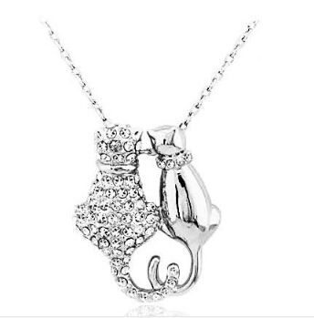 Rhinestones Couple Lovers Cats Necklace