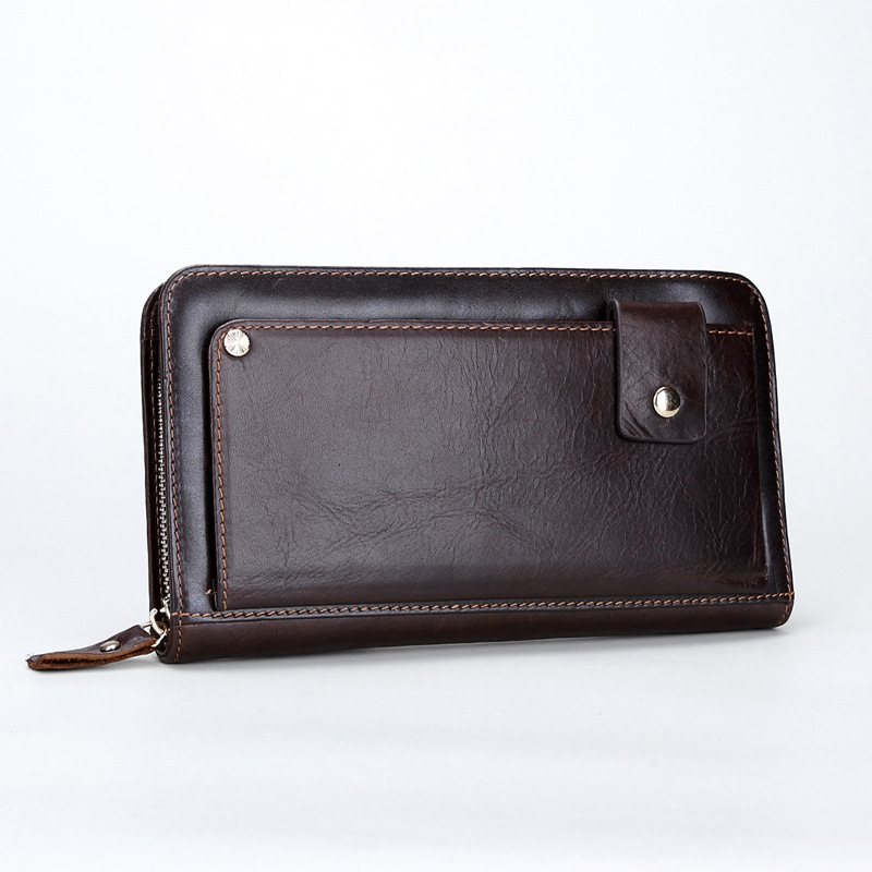 Men Long Wallets Male Cluth Business Top Quality Oil Wax Genuine Leather Wallet Purse Big Capacity Wristlet Handy Bag carteira