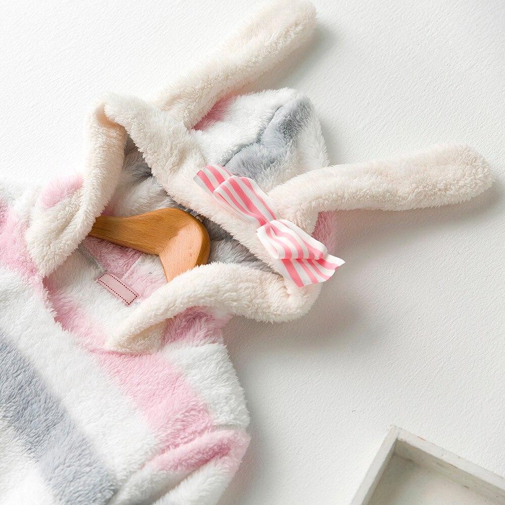De Gris Femmes Rayé Robe Avec Épais Lapin rose À Nuit Hiver Chemise Pyjamas blanc Chaud Mignon Chapeau Manches Oreille Longues Vêtements Doux cou Casual O BqqwArIf