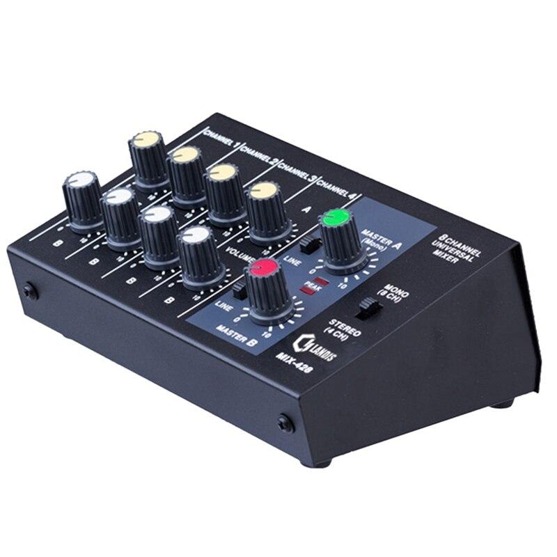 Mischen Konsole 8 Kanal Panel Karaoke Mikrofon Sound Mixer Digitale Anpassung Stereo Uns Stecker