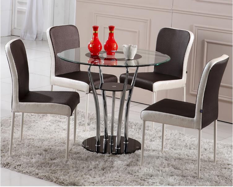 Tempered Glass Round Table. Double Round Table. Small Family Dining Table And Chair