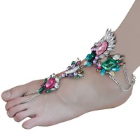 2017 New Arrival Luxury Bohemian Gypsy Charm Multi Colors Crystal Rhinestone Flower Beachy Anklet for Women Jewelry
