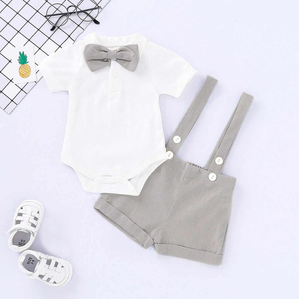 Лидер продаж, комплект одежды для новорожденных мальчиков и девочек, однотонная блузка с короткими рукавами для малышей, рубашка Топ + нагрудник, костюм из двух предметов, джентльмен