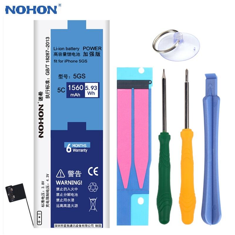 NOHON Original Batterie Für iPhone 5 S 5C iPhone5C 5GS 1560 mAh Lithium-Polymer Ersatz Bateria Freies Werkzeuge Einzelhandel Paket