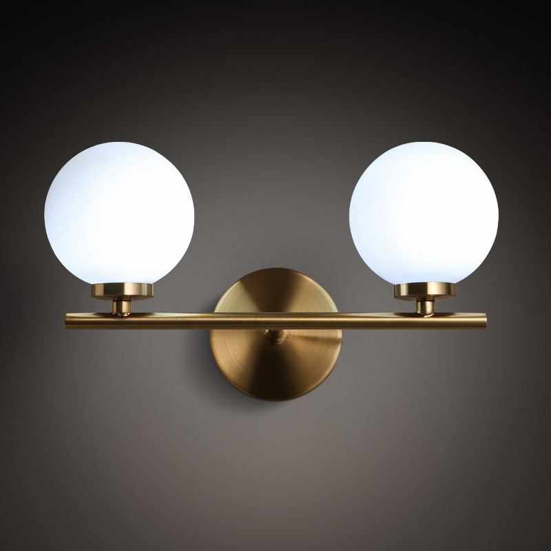 Double Head Nordic Post Modern Living Room Bedroom LED Wall Lights Simple Restaurant Cafe Bar Bedside Glass Wall Lamp Fixture modern led wall lamp gold body glass dining room wall lamps cafe bedroom lights glass wall light e27 bedside lamp ac90 260v