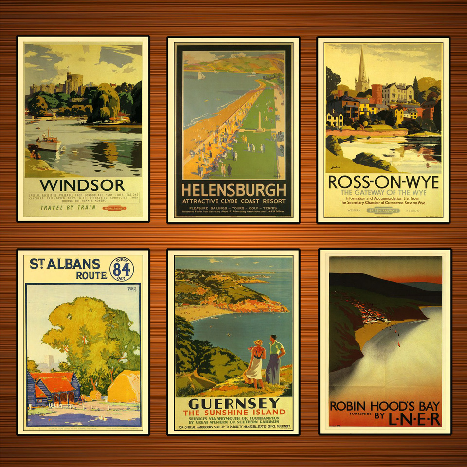 unique wall decor Robin Hood/'s Bay LNER  British rail travel posters
