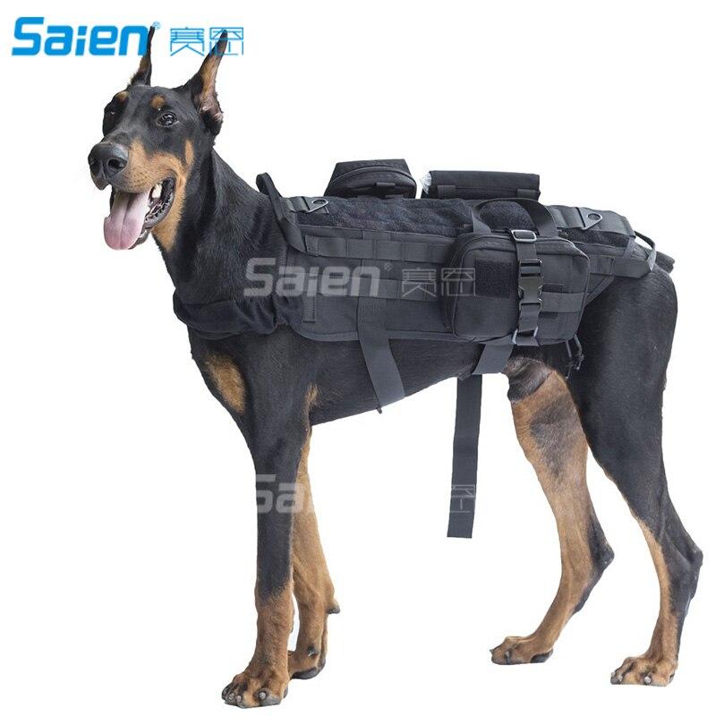 Harnais de chien tactique de Service gilet Molle sac à dos de randonnée en plein air de chien d'armée avec le Patch détachable de poches