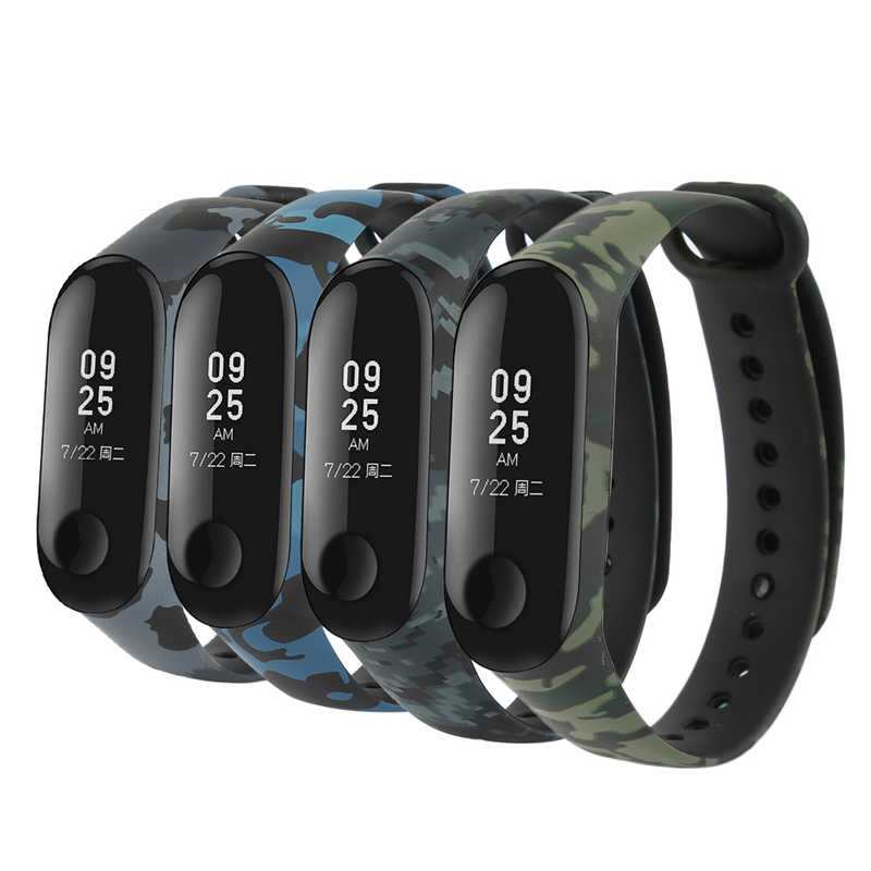 Unique Camouflage Colorful Smart Watch Soft Silicone Replacement Bracelet Wrist Strap Accessories for Xiao Mi Mi Band 3 Band