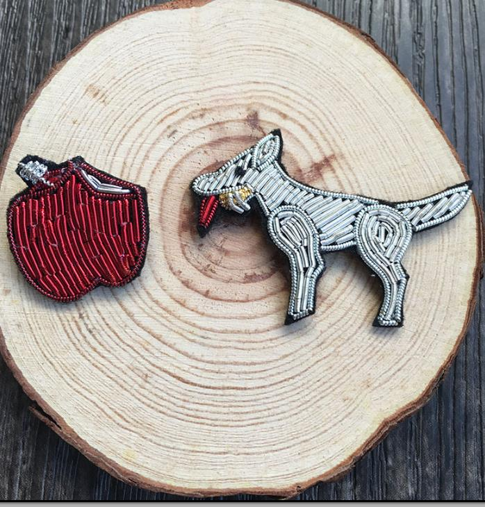 Diy Handmade Embroidered Patch: Wolf Apple Emboridered Patch Brooch Indian Silk Wire