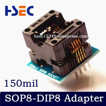 SOP8 do DIP8 adapter SOP8 gniazdo 150mil SOIC8 do DIP8 adapter (złocenie) programator IC adapter tanie i dobre opinie Nowy Komputer -20-100 SOP8 to DIP8 150mil adapter socket XRIICHA adapter socket Narrow 3 9mm±0 2MM 6mm±0 2MM 1 27mm 2pcs