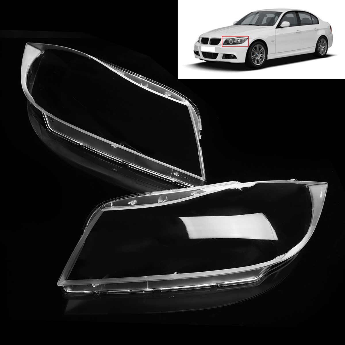 2Pcs Polycarbonate Headlamp Headlight Clear Lens Replacement Covers Case Shell Only XENON for BMW 3 E90 Sedan / E91 Touring 2pcs polycarbonate headlamp headlight clear lens replacement covers case shell only xenon for bmw 3 e90 sedan e91 touring