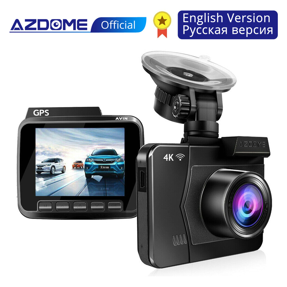 AZDOME Car-Dvrs-Recorder Vehicle Rear-Camera Dashcam Dual-Lens Wifi Night-Vision Built-In-Gps