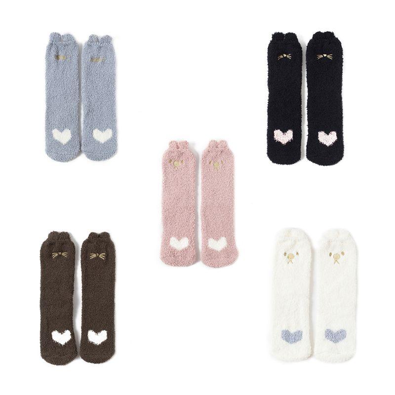 Women Girls Cute 3D Animal Ears Winter Thicken Coral Velvet Mid-Calf Long Socks Candy Heart Letters Embroidered Slipper Hosiery