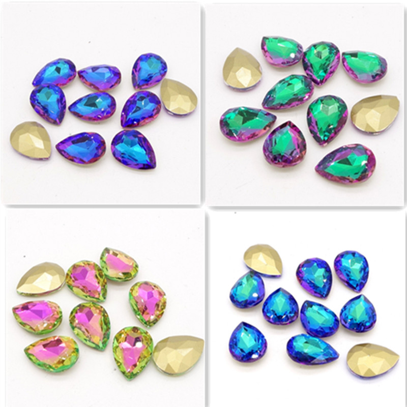 Մեծածախ նոր 15 հատ Crystal Glass rhinestones teardrop Facaded beads 10X14mm
