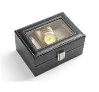 Gratis verzending 3 Grid PU Lederen Sieraden Verpakking Horloge Box Horloge Display Opbergdoos Case Met Clear Glas Louvre 5 stks