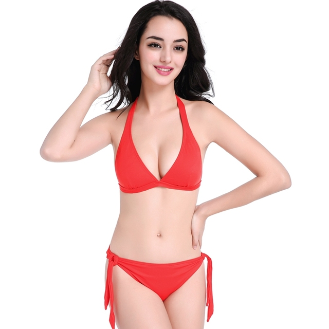 75fc528261a27 Red Women Female Beach Swimming Sexy Triangle Bikini Top Bottom Backless Halter  Bandage Swimwear Swimsuit Swim