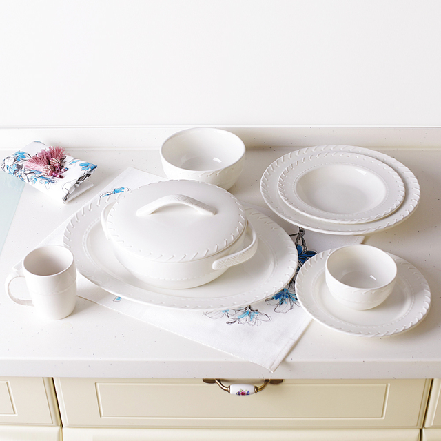 Set of 8pcs ~SUPER HIGH QUALITY~ Chinese Asian Creamy White Porcelain Tableware Set Dinnerware : asian dinnerware set - pezcame.com