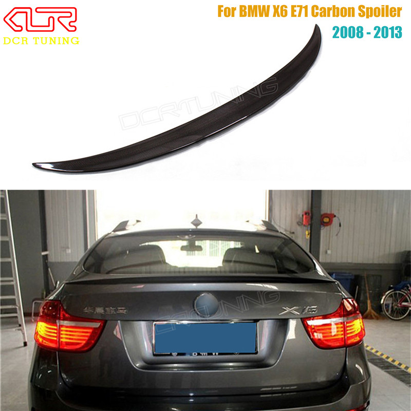 For BMW X6 E71 Spoiler Carbon Fiber Spoiler For X6 2008 2009 2010 2011 2012 2013 Rear Trunk Wing Performance Spoiler 1 1 replacement for bmw z4 e89 carbon fiber mirror cover 2009 2010 2011 2012 2013 z4 e89 30i 28i 20i 18i carbon