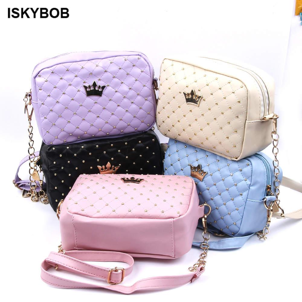 Women Messenger Bags Rivet Chain Shoulder Bag font b Leather b font Crossbody Stylish