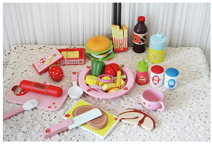 Baby toys western lunch set wooden play food baby for Zaffron kitchen set lunch