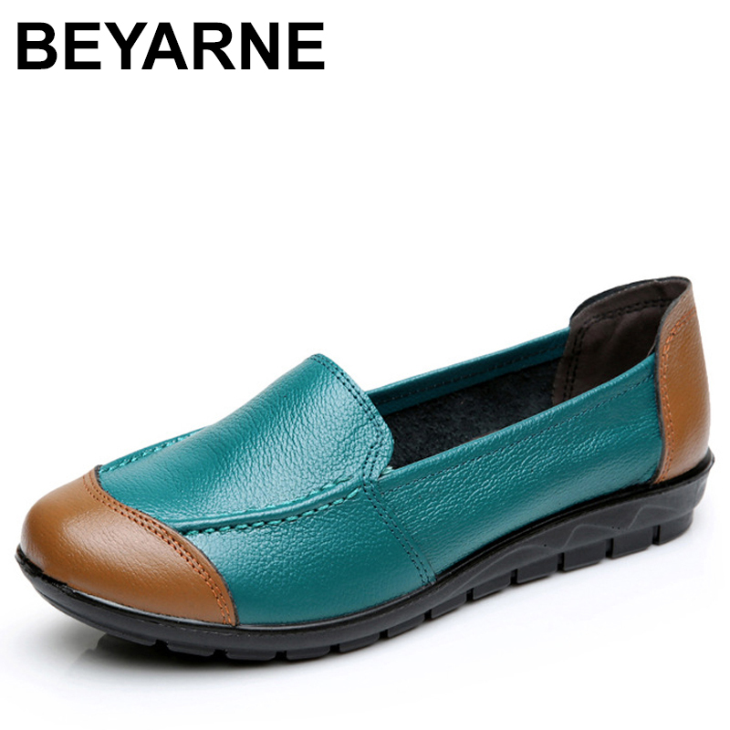 BEYARNE Cow Muscle Ballet Mixed Colors Print Women Genuine Leather Shoes Woman Flat Flexible Loafer Flats Appliques mixed print cami top