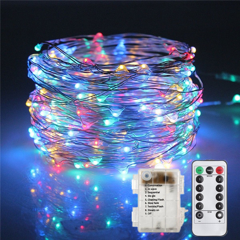 5M 10M 8 Modes Waterproof Remote Control Timer Copper LED String Fairy Starry Light AA Battery Powered Xmas Wedding Decor Light