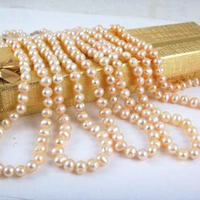 New fashion charming wholesale price 5pcs 7-8mm pink Akoya pearl necklace round beads women diy chain jewelry 18inch BV193