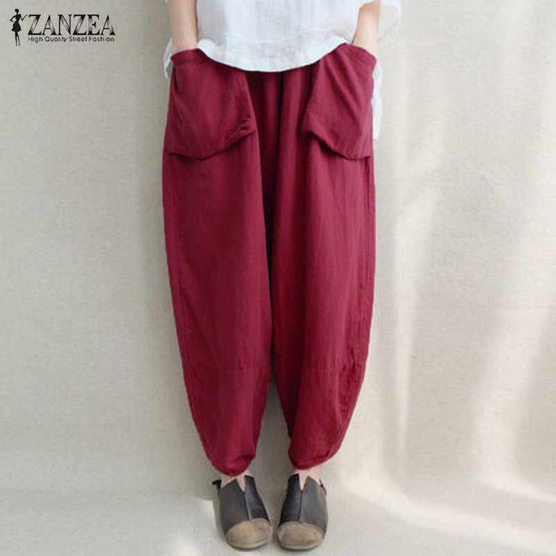 1b98c16b5c623 2018 ZANZEA Women Elastic Waist Solid Pockets Cotton Linen Loose Long  Capris Harem Pants Pantalon Baggy