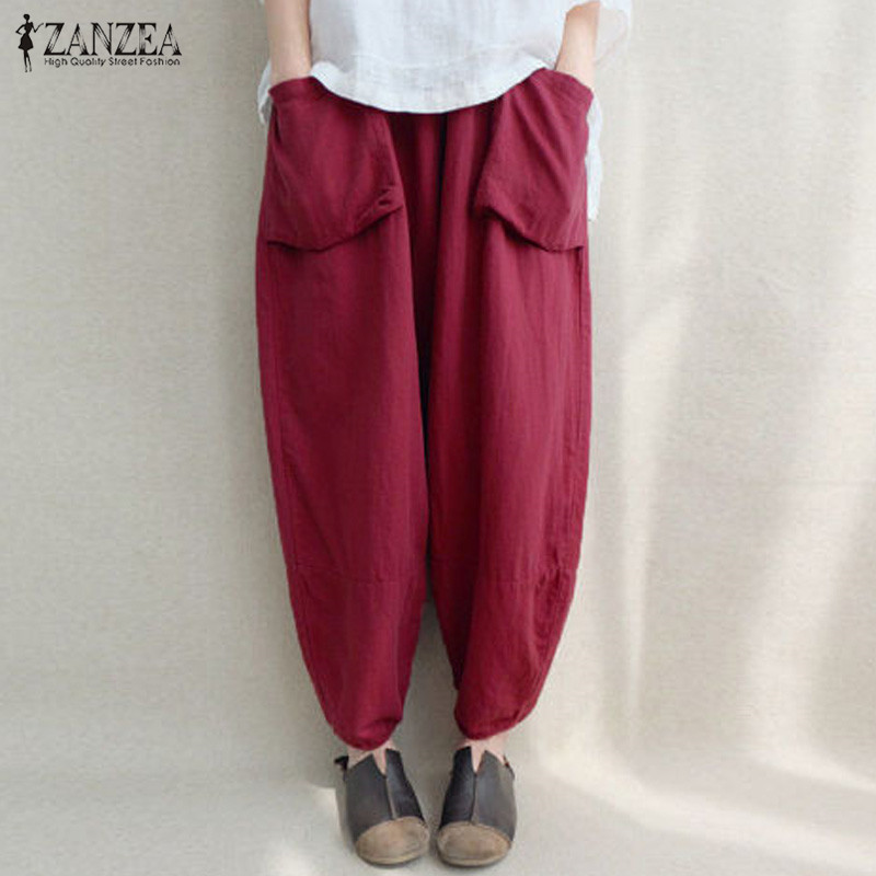 2018 ZANZEA Women Elastic Waist Solid Pockets Cotton Linen Loose Long   Capris   Harem   Pants   Pantalon Baggy Trousers Plus Size