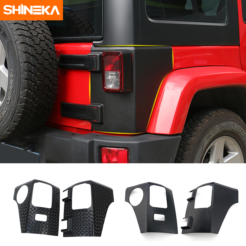 цена на SHINEKA Car Rear Taillight Tail light Lamp Guard ABS Cover Trim Protector for Jeep Wrangler 2007-2016 Car Accessories